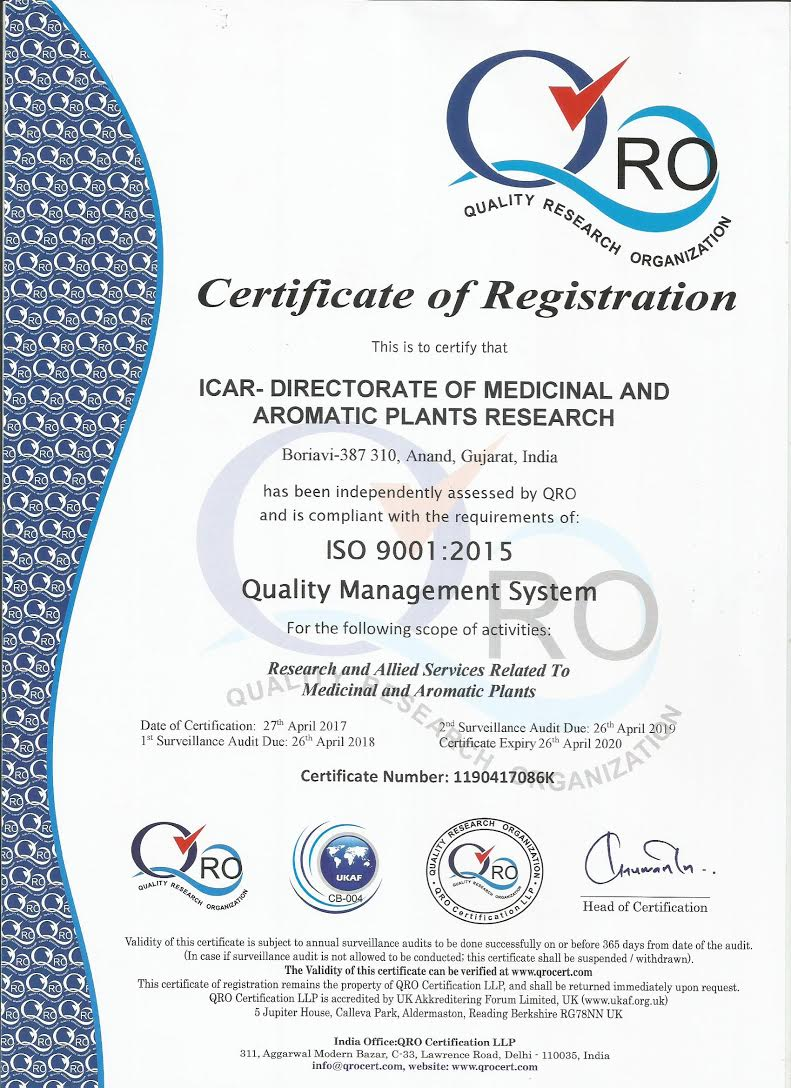 Icar directorate of medicinal aromatic plants research iso 90012015 certified 1betcityfo Gallery